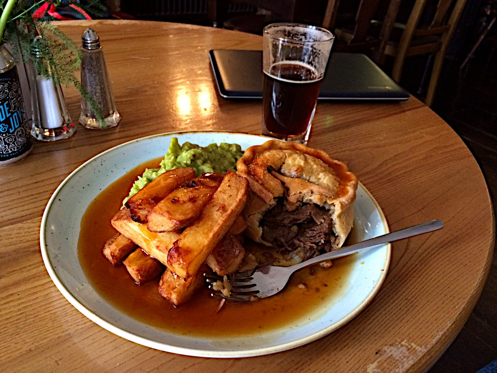 Hearty lunch - meat pie, smashed peas, and chips at the Broadfield Ale House