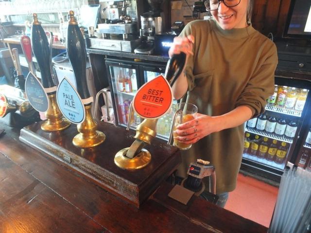 Riverside Pub - pulling a True North bitter
