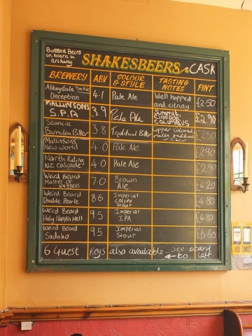 Offerings at Shakespeares Pub