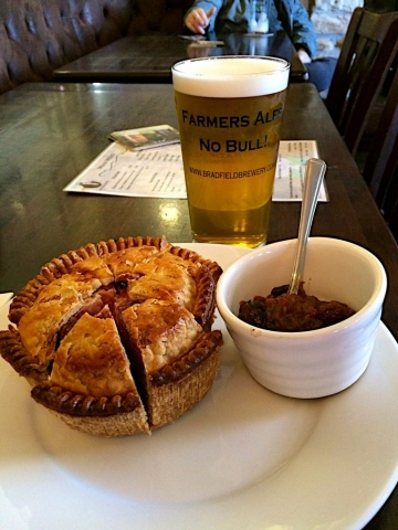Homemade Sausage Pie and beer chutney at Nags Head